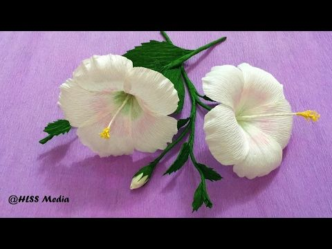 How To Make white Hibiscus Paper Flower origami step by step/ DIY crepe paper flower tutorials - YouTube