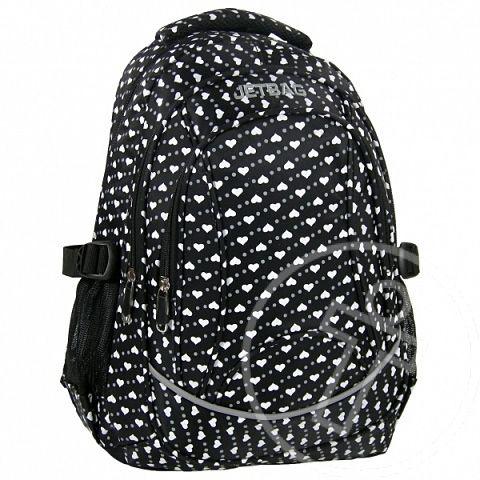 Jetbag fekete szívecskés tinédzser iskolatáska hátizsák