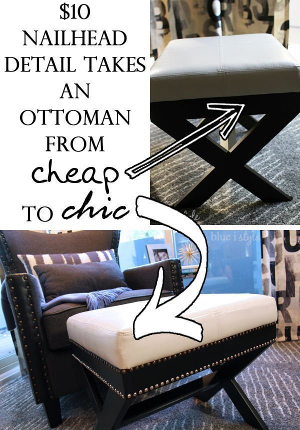Update a cheap ottoman and give it a chic new look with a $10 nailhead detail! Tutorial on the blog {blue i style}