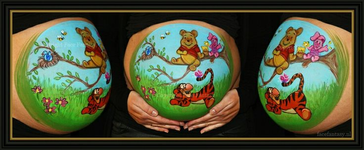 Winnie the Pooh Pigglet Tigger Bellypainting Bellypaintdesign by Face Fantasy Amersfoort