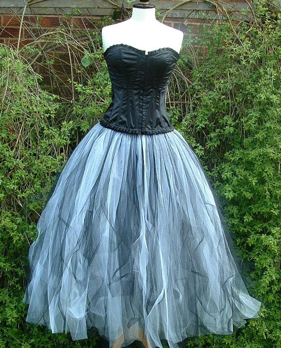 A beautiful handmade item from darkestdreams  This is a gorgeous full length RAGGED tutu prom skirt  2 layers of white net tulle covered by 1 layer
