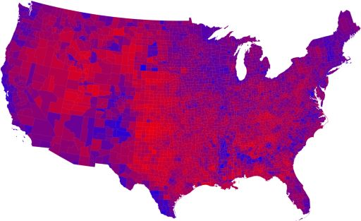 2008 U.S. presidential election results by county.