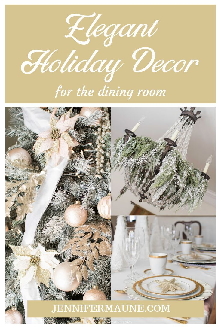 Touches of Champagne, Gold, Silver and Crystal inspire this gorgeous holiday dining room perfect for the most elegant dinner party or Christmas dinner. Arkansas Lifestyle Blogger Jennifer Maune shares the details of her stunning holiday table in this inspiring post. #holidaydecor #christmasdecor #christmastable #christmastablescape #holidaytable #diningroomdecor #holidaydiningroom