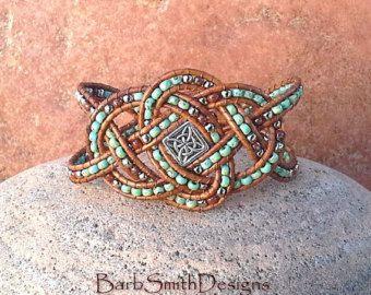 Nero argento perline bracciale di cuoio di BarbSmithDesigns