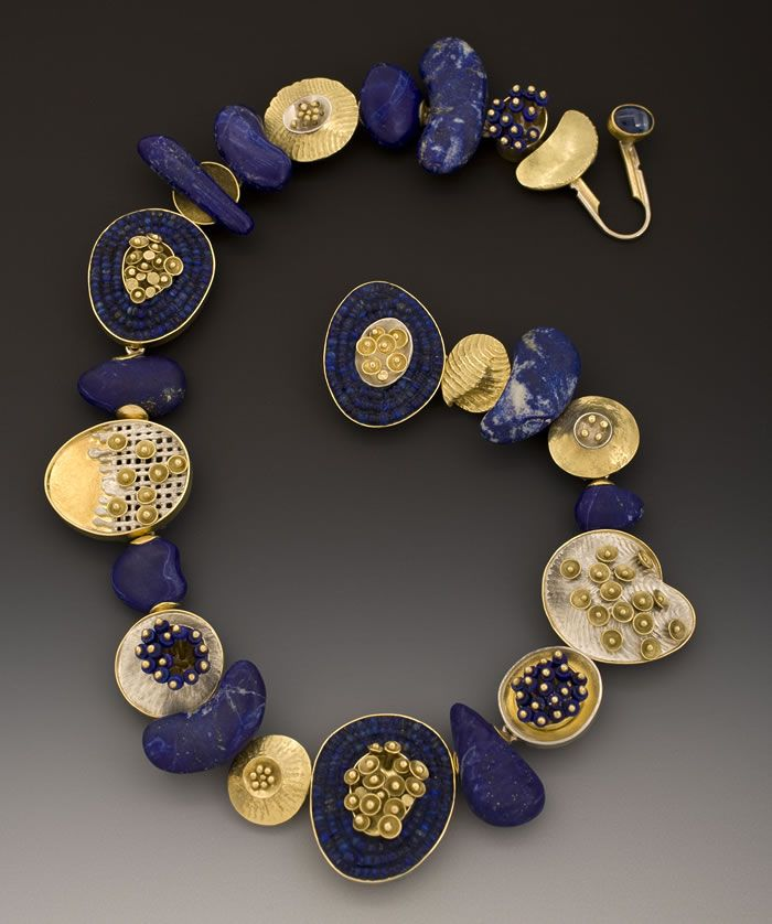 Jeff and Susan Wise : 'Aztec Lilly Pads', carved lapis beads, sterling, 18K & 22K gold