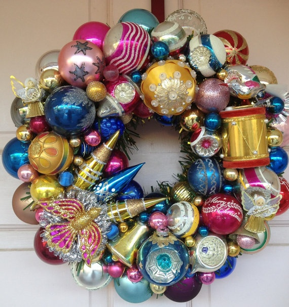 Brilliant Blue/Pink/Gold wreath with Pink Bird and Gold Drum