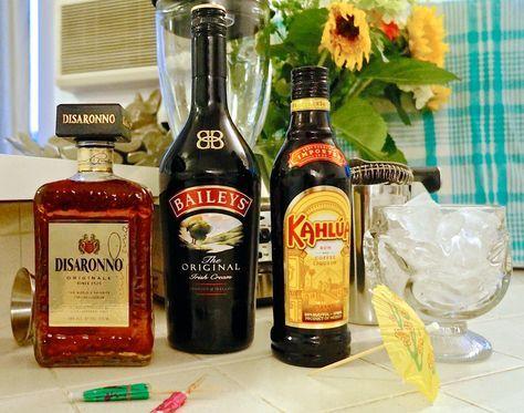 Inspired by Tiki Ti's Milky Way: 2 oz. Baileys, 1 oz. Disaronno, 1 oz. Kahlua, crushed ice