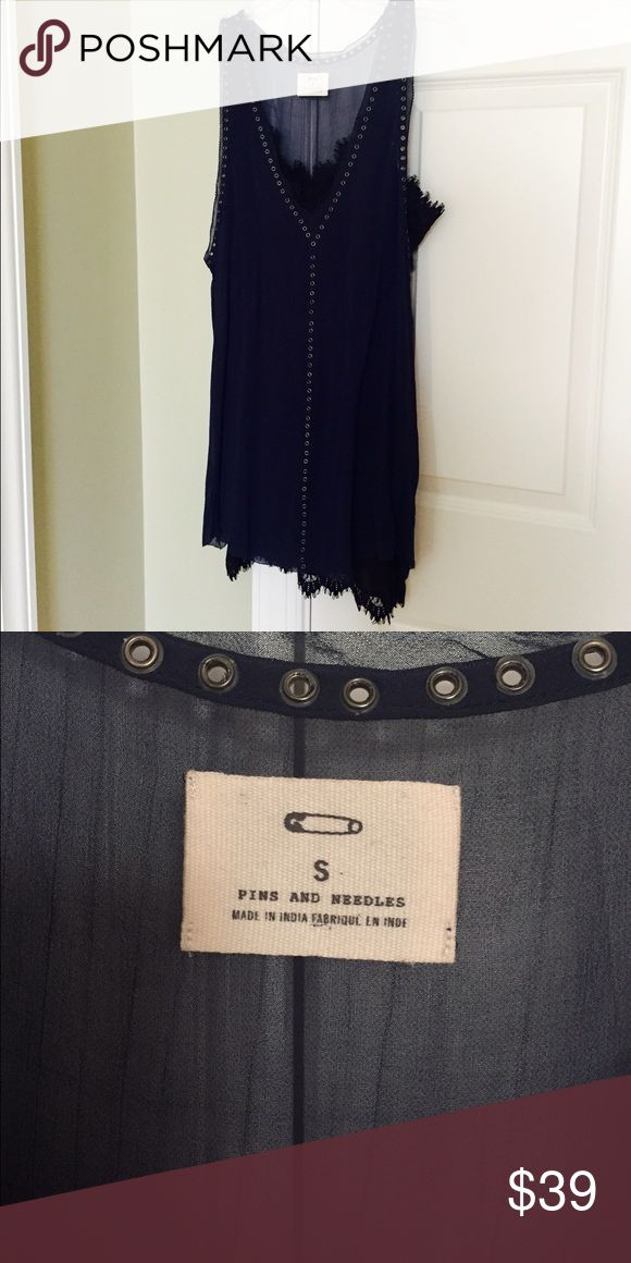 Perfect Going Out Dress Perfect double slip party dress. Deep navy sheer dress with removable black slip. Black slip is intended to peak through top and bottom. Metal grommet type detail. Worn once. Fits true to size. Smoke/pet free home. Dresses Mini