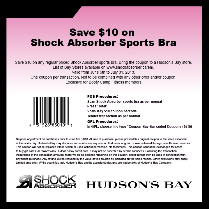 Ladies! Use this coupon to save $10 on a Shock Absorber at Hudson's Bay!