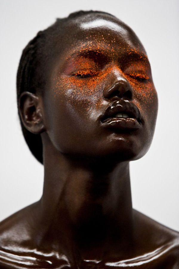 darkandafro.tumblr.comOrange, Face, Fashion, South Africa, Makeup Ideas, Black Beautiful, Invite Deng, Melted Chocolates, Flawless Skin