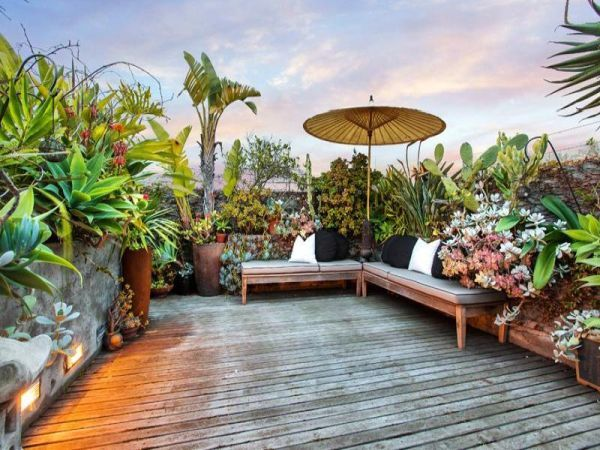 another great rooftop deck with succulents, cactus, simple benches and umbrella -- terrace home in Melbourne