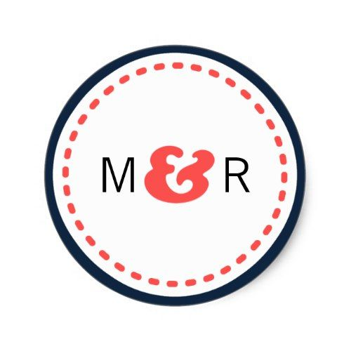 Modern Navy & Coral Chevron & Lovebirds Wedding Classic Round Sticker