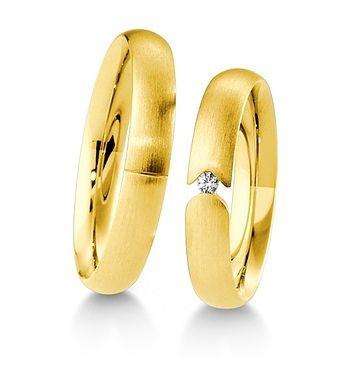 Breuning Trouwringen | Inspiration collectie gouden ringen | 4mm briljant 0.03ct verkrijgbaar in 8,14 en 18 karaat | 48041550 / 48041560 OOK in wit en rood goud verkrijgbaar of in 2 kleuren goud #trouwringen