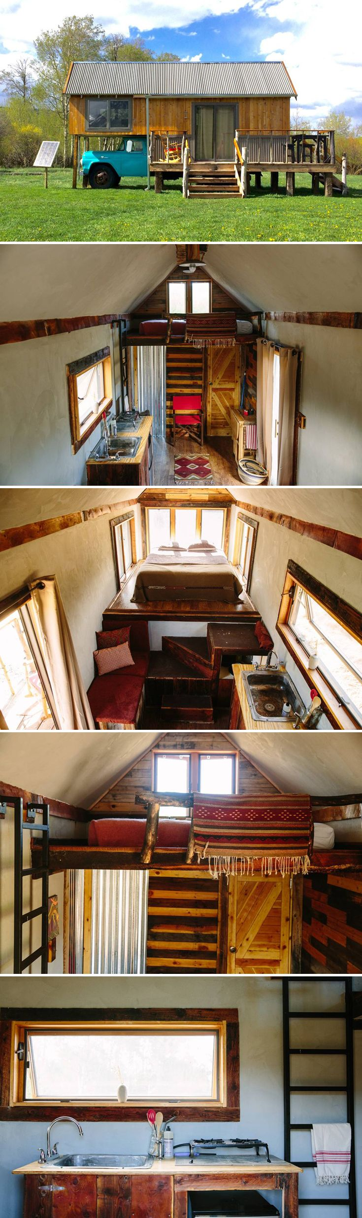 Custom made on the back of an old stock truck, this is one of the most unique tiny houses we've seen! Reclaimed materials were used throughout the house.