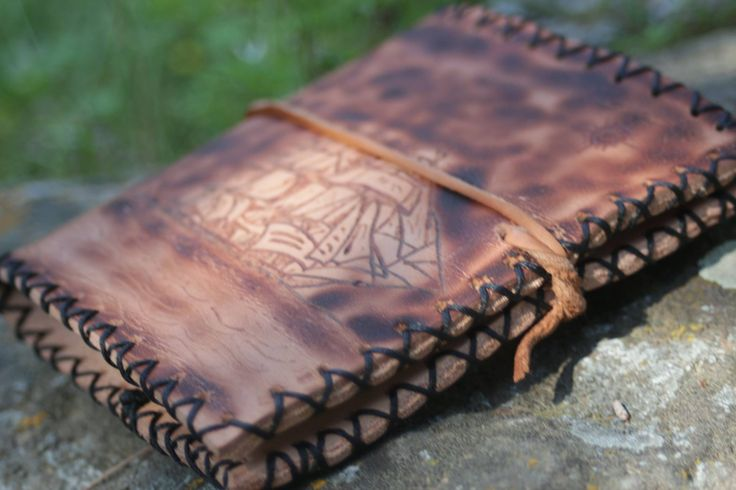 Hand made personal note book from leather, with pyrografy