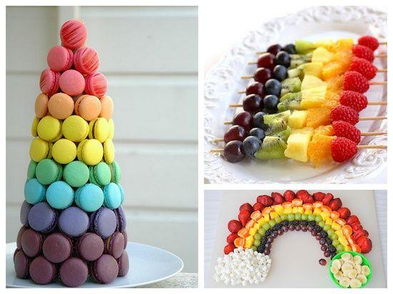 Comidinhas de festa coloridas.