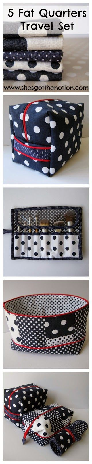 5 Fat Quarter Travel Set: Sewing tutorials to make a toiletry bag, a makeup brush roll, and a makeup zipper pouch from only 5 fat quarters.   She's Got the Notion