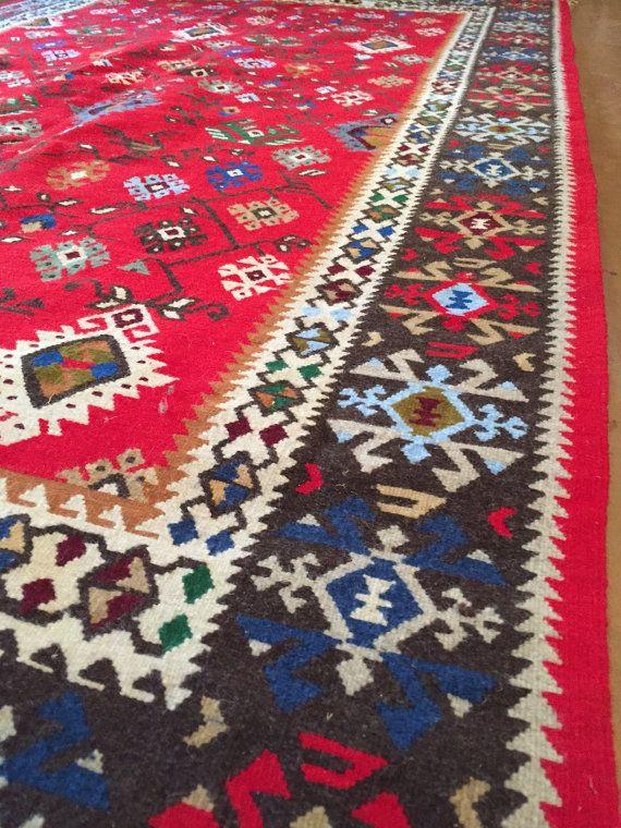 "New Balkan Kilim Rug ""KOTLENSKI"", Geometric pattern, Colorful rug, Diamond Pattern, Handmade rug, Bohemian rug, Boho rug, Carpet wool"