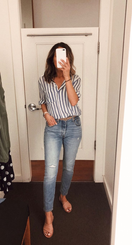 Pull-On Jeans In Stretch Denim Elasticized Drawstring Waistband Mock Fly