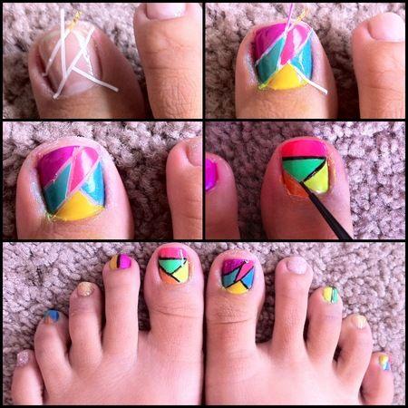 Color Block toenails design