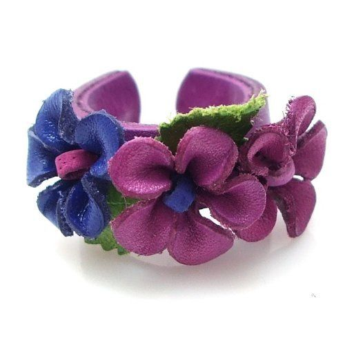 Darling Purple Leather Band Floral Blossom Ring AeraVida. $20.99. Size: Free Size (Adjustable). Color: Purple. Material: Underwire, Genuine 100% Leather (Purple Tone Flowers). Flower Size: 15 mm (0.59 inch) wide x 15 mm(0.59 inch) long. Weight: 1.8 grams. Band Width: 9mm
