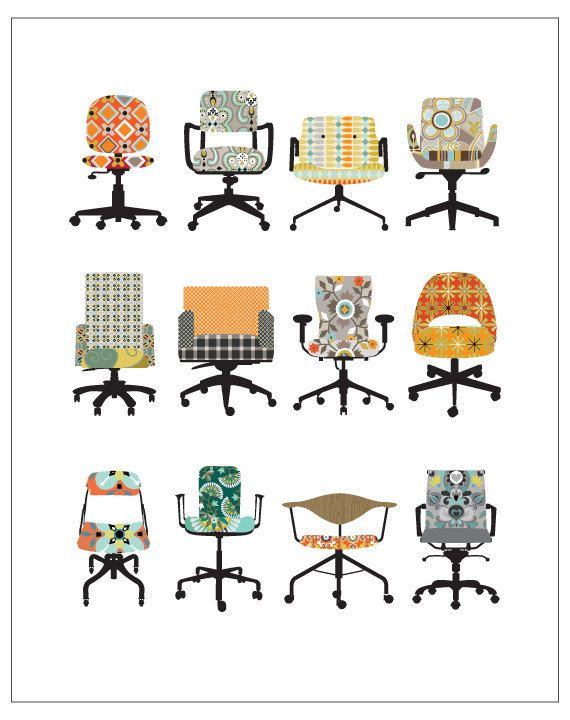 CbyC Original Illustration - Office Chairs -  Limited Edition Print. $15.00, via Etsy.