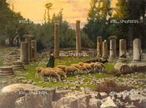 """Title: Photo-Painting: Shepherdess with a flock of sheep grazing among the archeological ruins of """"Saepinum romana"""" in the village of Altilia., Credits: Alinari Archives-Trombetta Donation, Florence"""