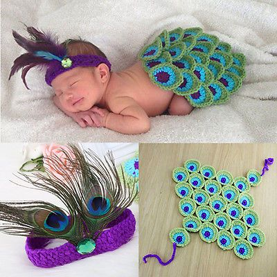 Babies-New-Born-Knit-Skirt-And-Feather-Headband-Photography-2P-Pice-Outfit-Sets