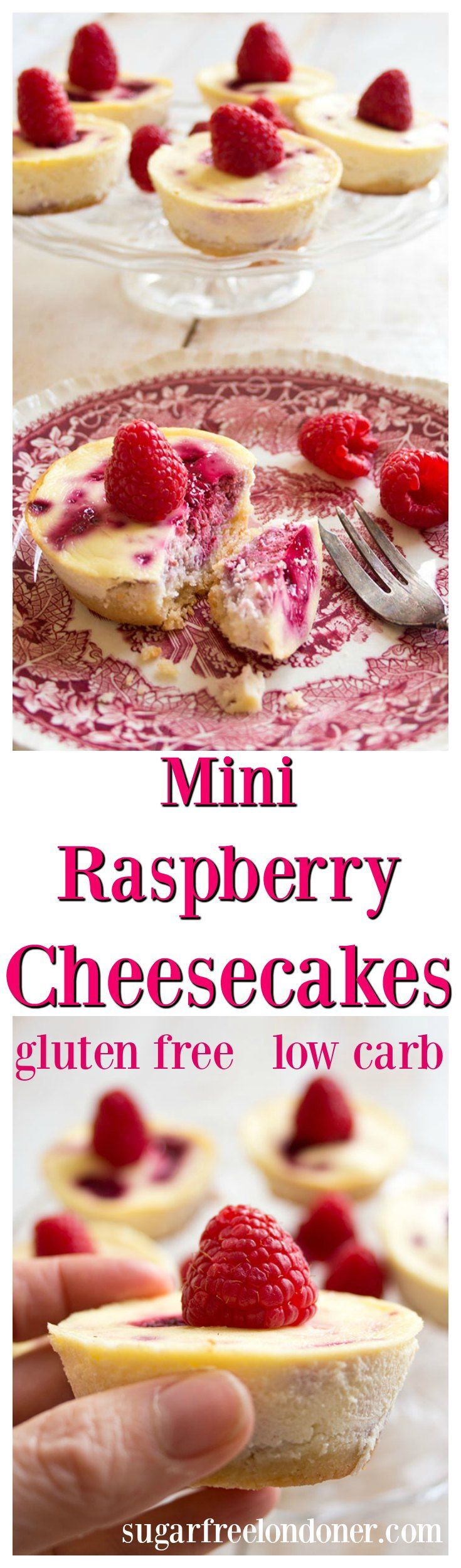 These creamy, fruity individual mini raspberry cheesecakes are a perfectly guilt free low carb indulgence.