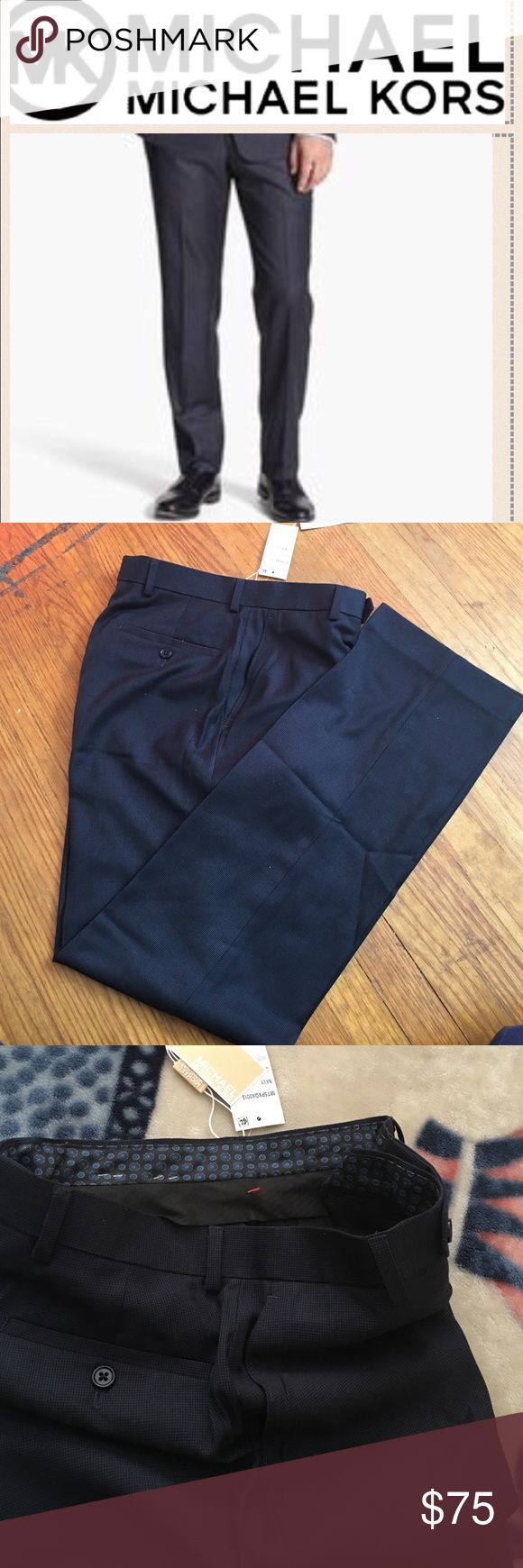 🎁Michael Kors Men's dress pants Brand NWT Michael Michael Kors Men's Navy dress pants. Size 30W x 32L. Really small checked/box design. Really comfortable. MICHAEL Michael Kors Pants Dress