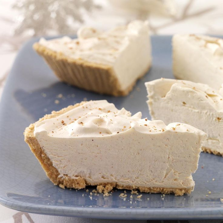 Holiday Eggnog Pie Recipe -I created this holiday pie one day when trying to use up a few things I had on hand. Everyone loved it! With pumpkin pie spice and eggnog, this creamy, dreamy pie has fantastic flavor. —Shirley Darger, Colorado City, Arizona