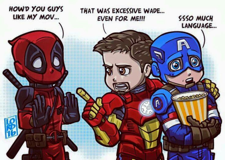 Language! Deadpool asks Iron Man and Captain America his they liked his movie