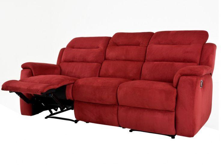 Relaxsofa Microfaser 3-Sitzer Simono - Rot