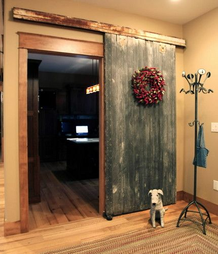 old barn door indoors. Getting one for my bedroom door :)