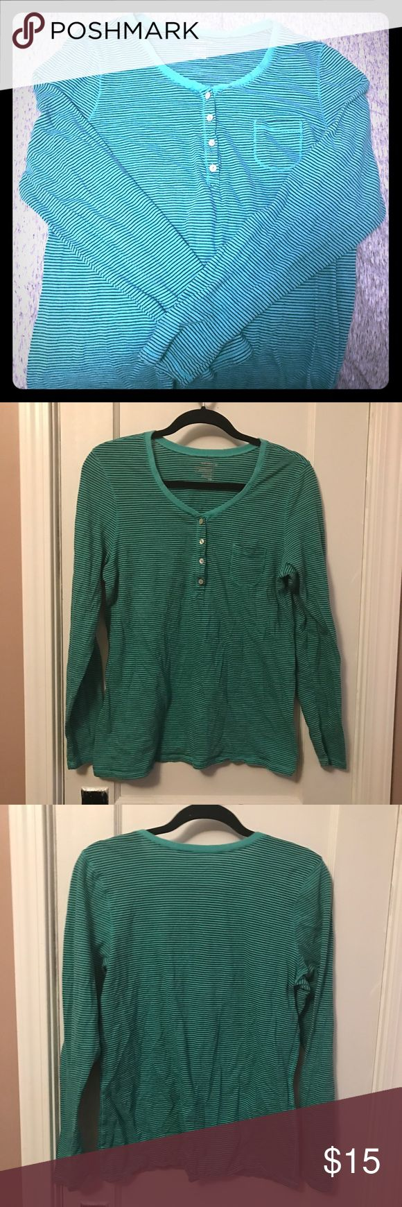 Old Navy Long Sleeved Top Green and black striped long sleeved top with buttoned scoop neck. Old Navy Tops Tees - Long Sleeve