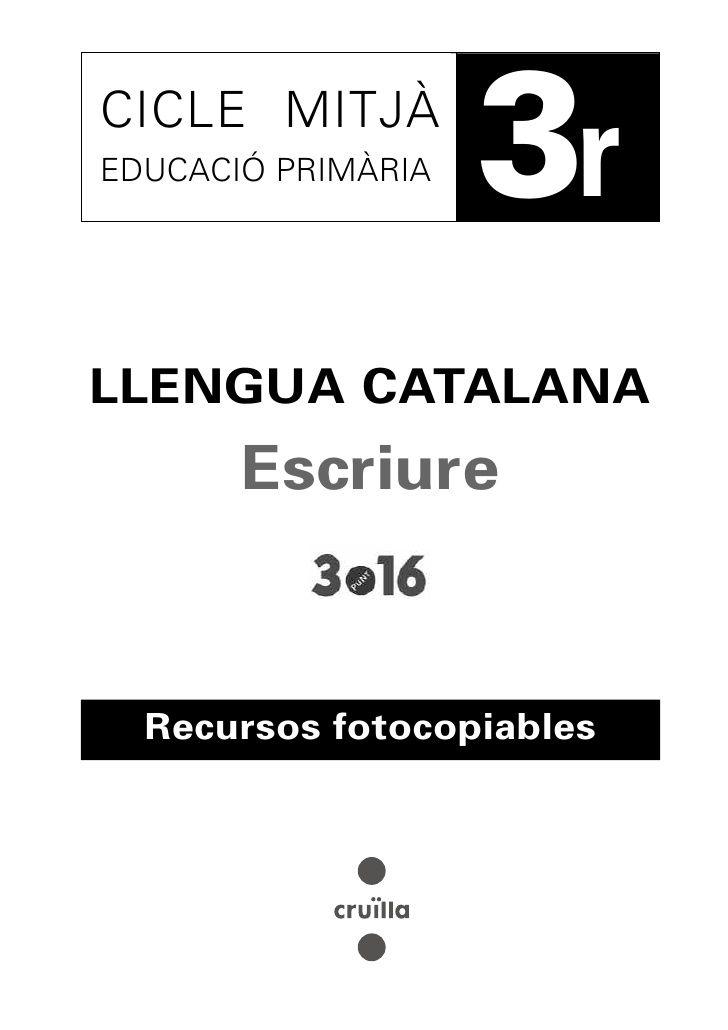 Cuaderno ejercicios de lengua 3r ep, catalán