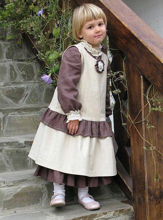 Handmade Sun Boho Girls' Dress - beige, sundress for girls, velveteen, boho style;;Boho dress