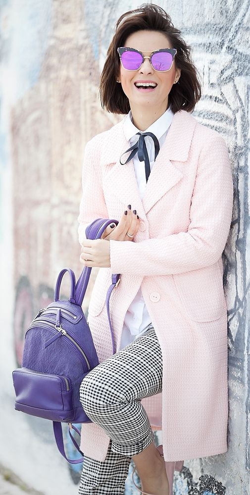 peach coat outfit | pernelle backpack | gentle monster sunglasses | check trousers outfit | spring outfit ideas