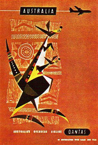 Australia. vintage Qantas poster
