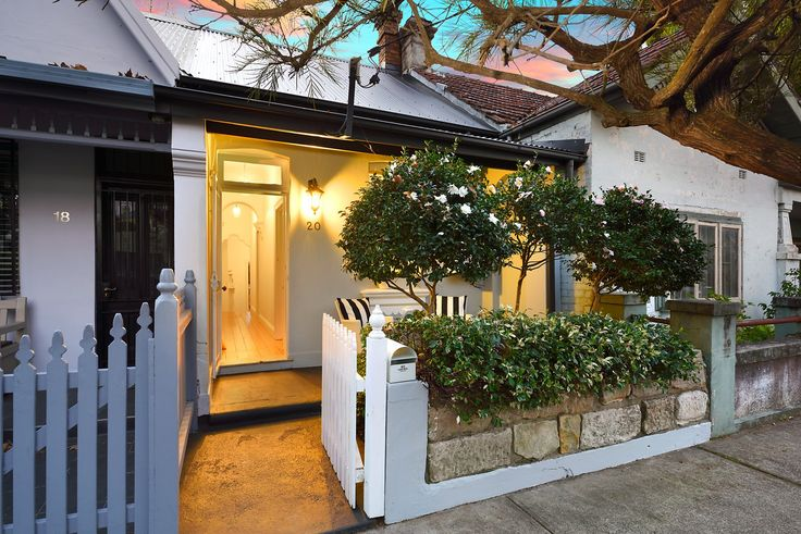 Pretty terrace, immaculate interiors, dusk photography, 20 Ferris Street, Annandale, Pilcher Residential