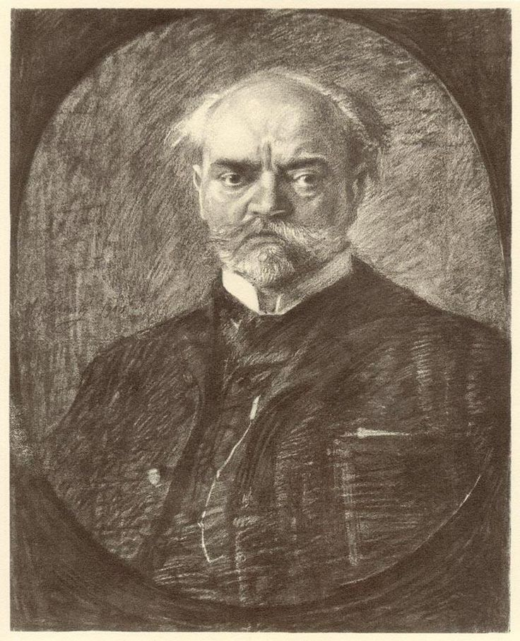 Composer Antonín Dvořák. Max Švabinský is author of his portrait.