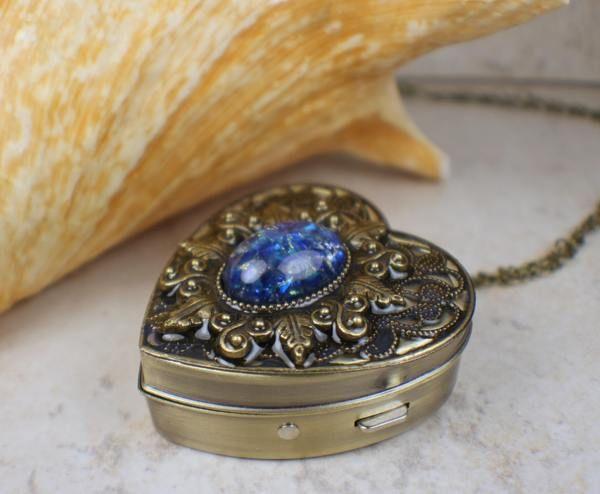 Antique Bronze Locket Pill Box Necklace Chain Valentine Vintage Jewelery Retro