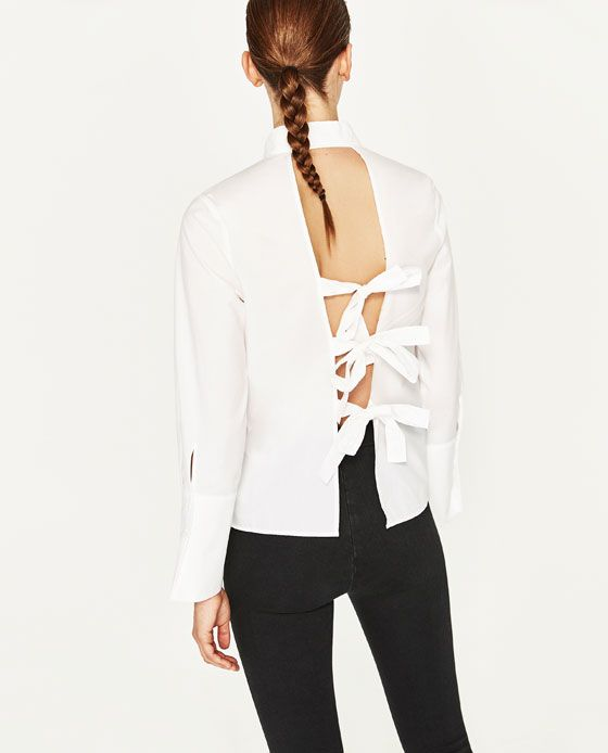 Image 6 of SHIRT WITH BACK BOWS from Zara