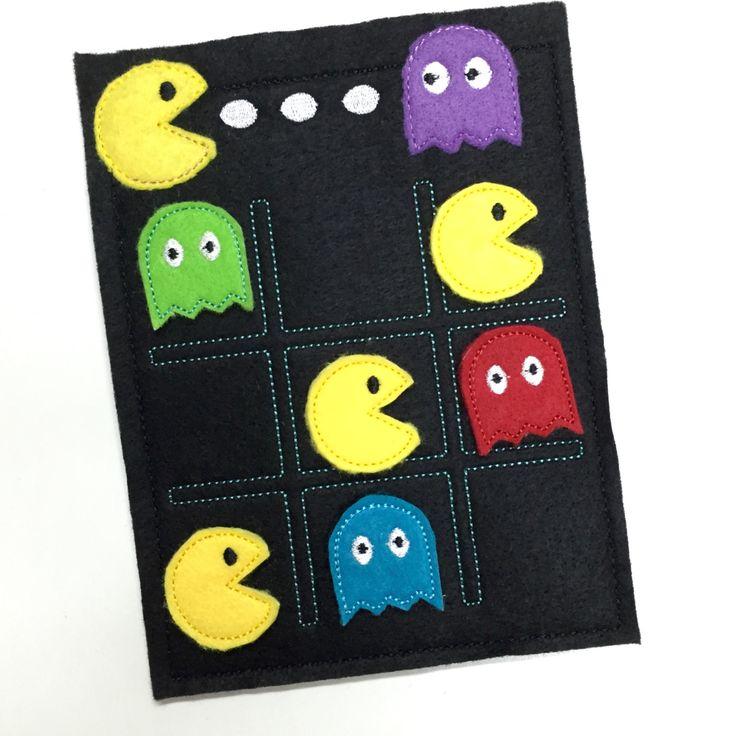 Pacman Tic Tac Toe Game Board Embroidered Felt por MonogramMeLLC
