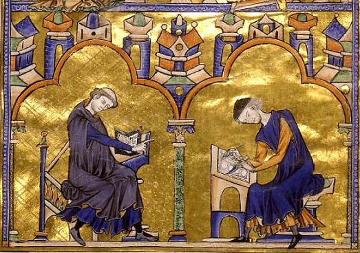 Author Dictating to a Scribe France, ca. 1230  The monk with a tonsor haircut is giving instruction to a layman scribe in the employ of the monastery. With a quill the scribe is drawing an elaborate border  while  holding the parchment with the tip of his knife to avoid smudging the page. His coat of rich blue fabric and delicately made shoes indicate he is being well paid for his work.  © The Morgan Library & Museum, 225 Madison Avenue, New York, NY 10016, (212) 685-0008