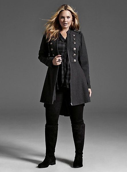 This is another longer fitted coat that appeals to me. I sort of like the military style buttons...