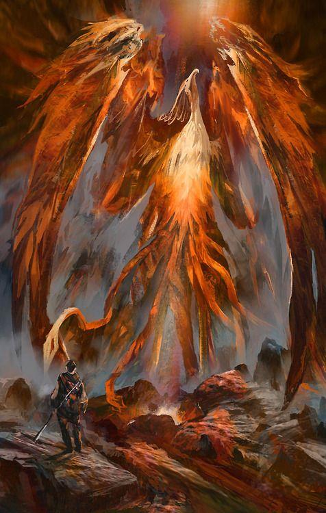d'artiste: Digital Painting. Rising from Ash, phoenix