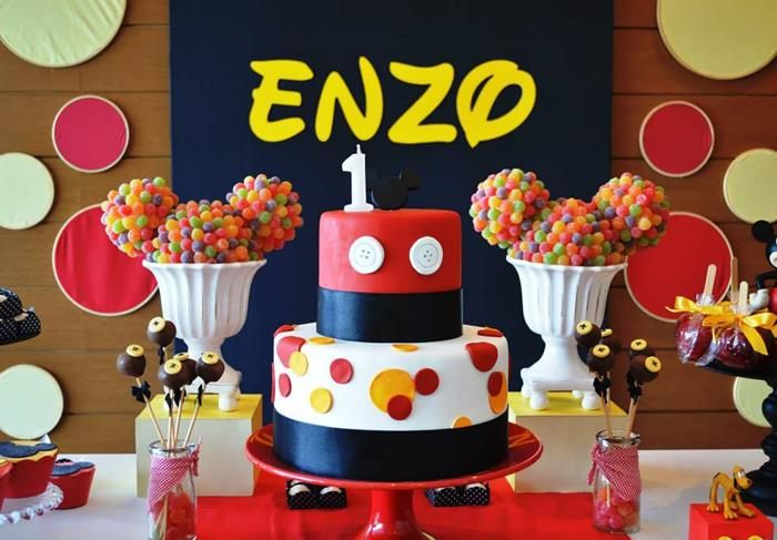 Look at the gumdrop Mickey Mouse topiaries on this dessert table at a Mickey Mouse 1st Birthday Party!