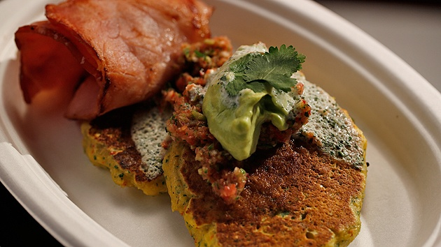 MKR4 Recipe - Sweetcorn and Pea Fritters with Bacon
