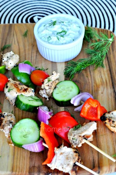 These grilled chicken skewers with homemade tzatziki are the perfect light dinner to kick start your grilling season!